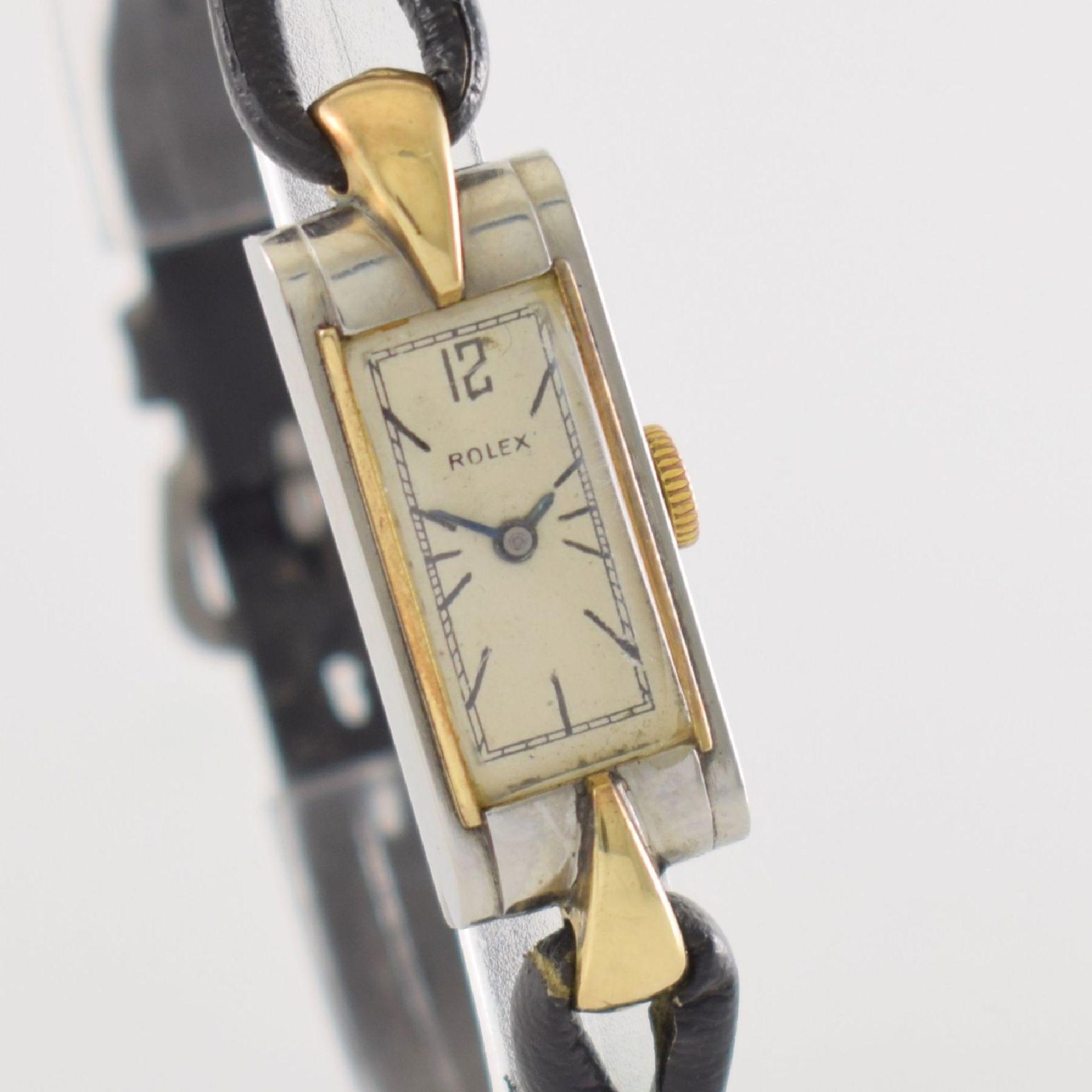 ROLEX Princess Damenarmbanduhr Ref. 1876 in Stahl/Gold, Schweiz um 1935, Handaufzug, rechteck. - Bild 6 aus 8