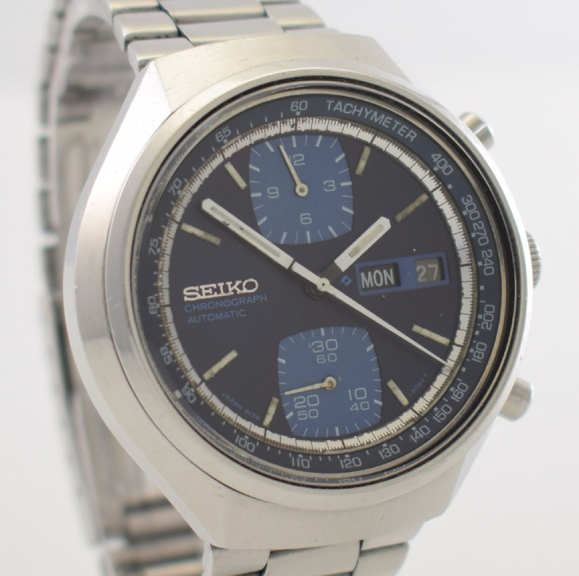 SEIKO Herrenarmbanduhr mit Chronograph, Japan um 1970, Automatik, Ref. 6138-8030, Edelstahlgeh. - Bild 6 aus 7