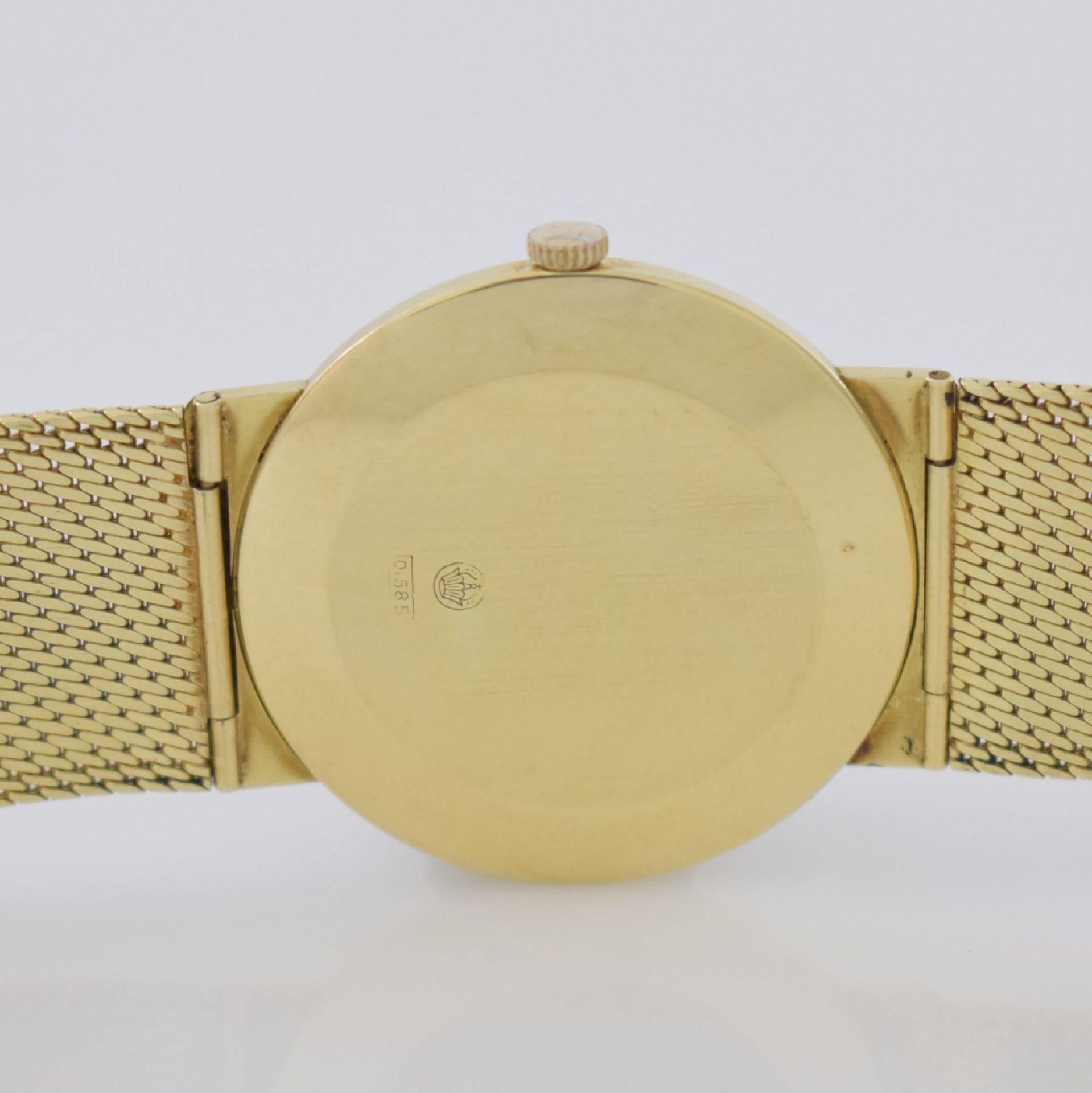 Herrenarmbanduhr in GG 585/000 mit GG 585/000 Milanaiseband, Deutschland um 1965, Handaufzug, - Bild 6 aus 8