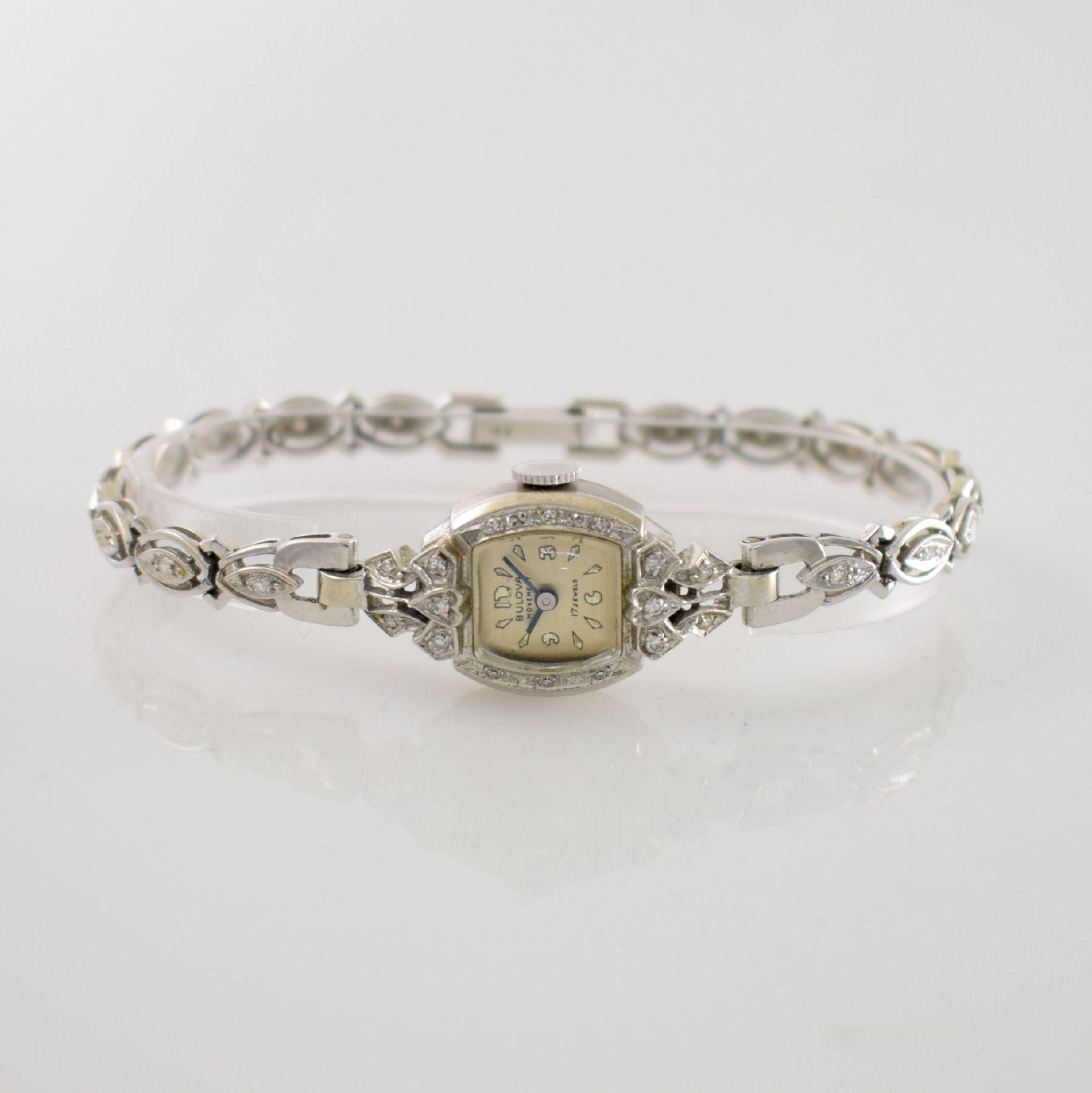 BULOVA Damenarmbanduhr in WG 585/000 mit Diamantbesatz, Handaufzug, USA um 1940, Boden aufgedr.,
