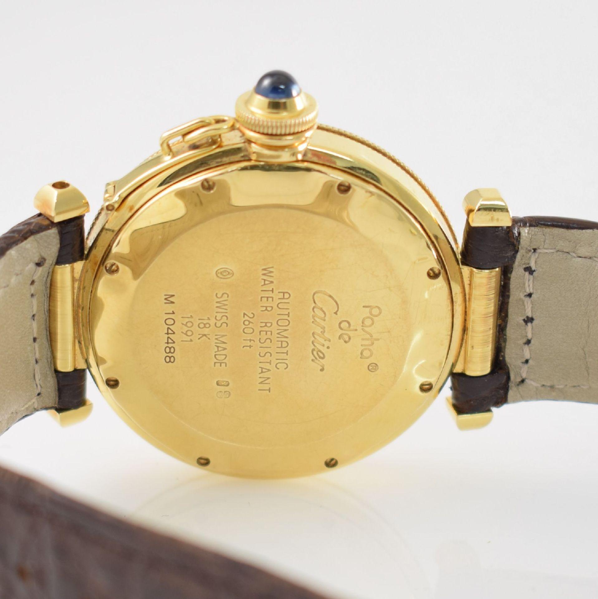 CARTIER Armbanduhr Serie Pasha in GG 750/000, Automatik, Schweiz um 1990, Ref. 1991, Lederband m. - Bild 4 aus 7