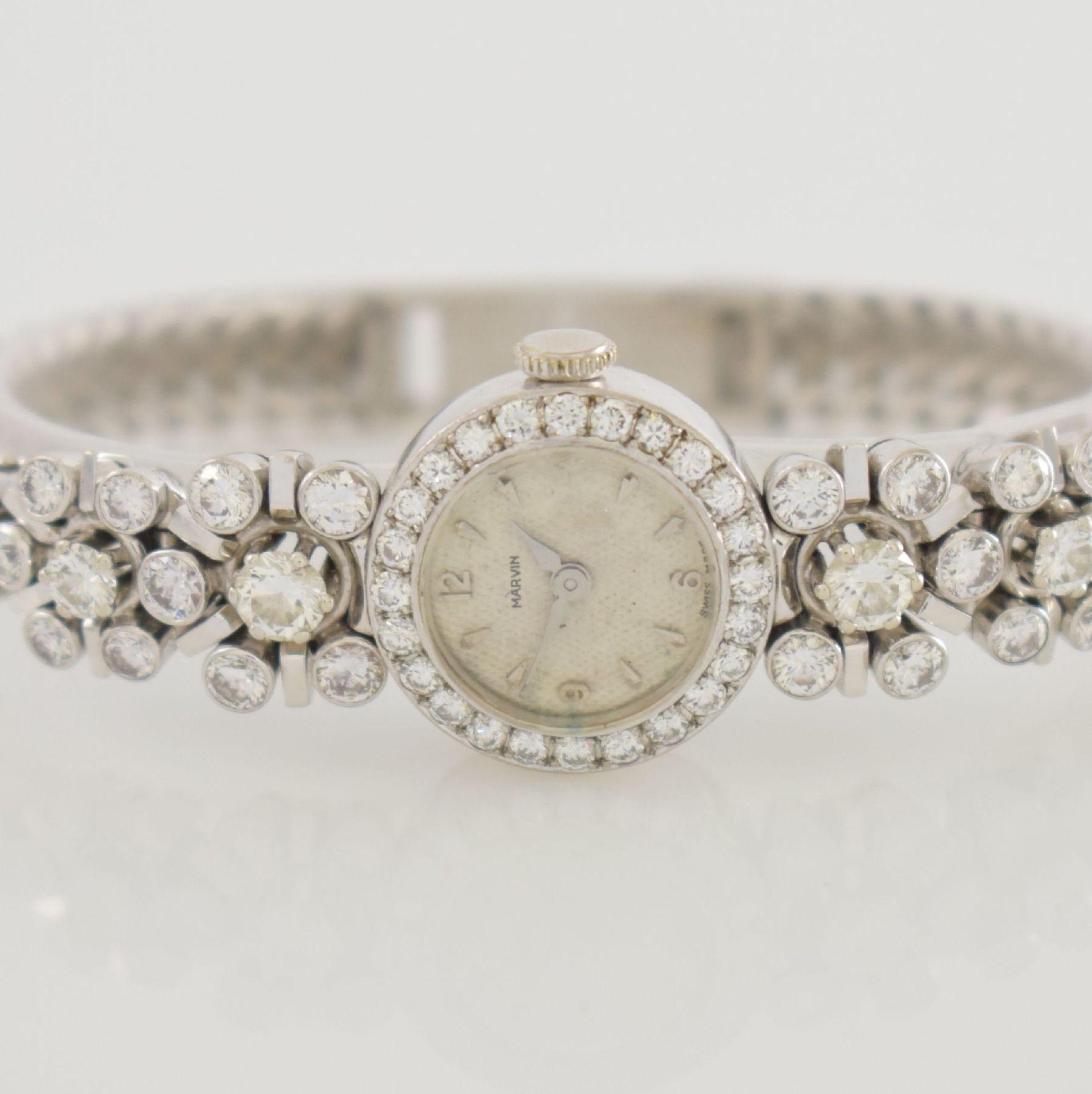 MARVIN Art Deco ausgefallene Damenarmbanduhr in WG 585/000 m. Diamanten zus. ca. 2,50 ct, Schweiz um - Bild 2 aus 5