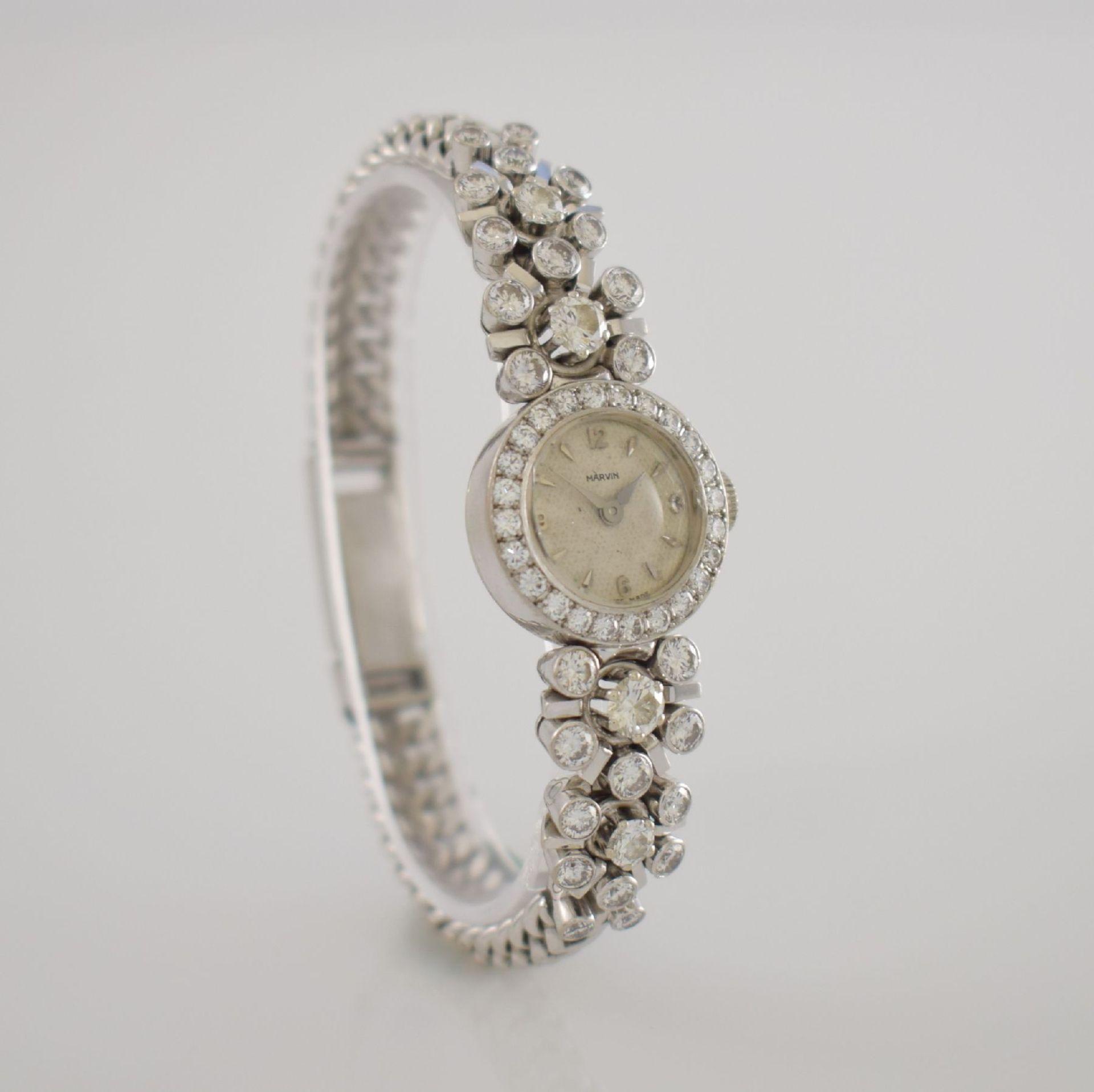 MARVIN Art Deco ausgefallene Damenarmbanduhr in WG 585/000 m. Diamanten zus. ca. 2,50 ct, Schweiz um - Bild 4 aus 5