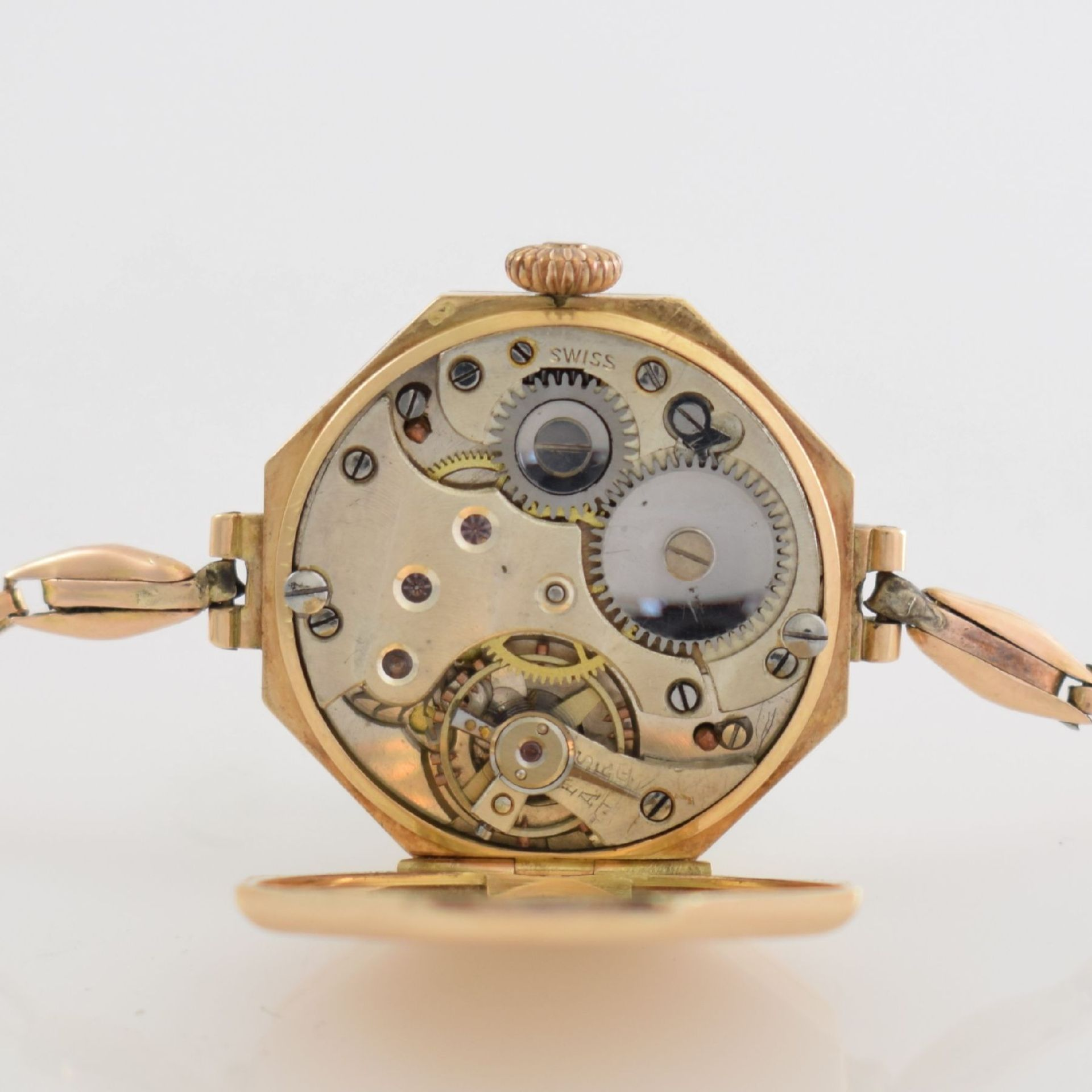 Frühe oktogonale Damenarmbanduhr in RoseG 585/000, Schweiz um 1925, Handaufzug, gedr. - Bild 4 aus 4