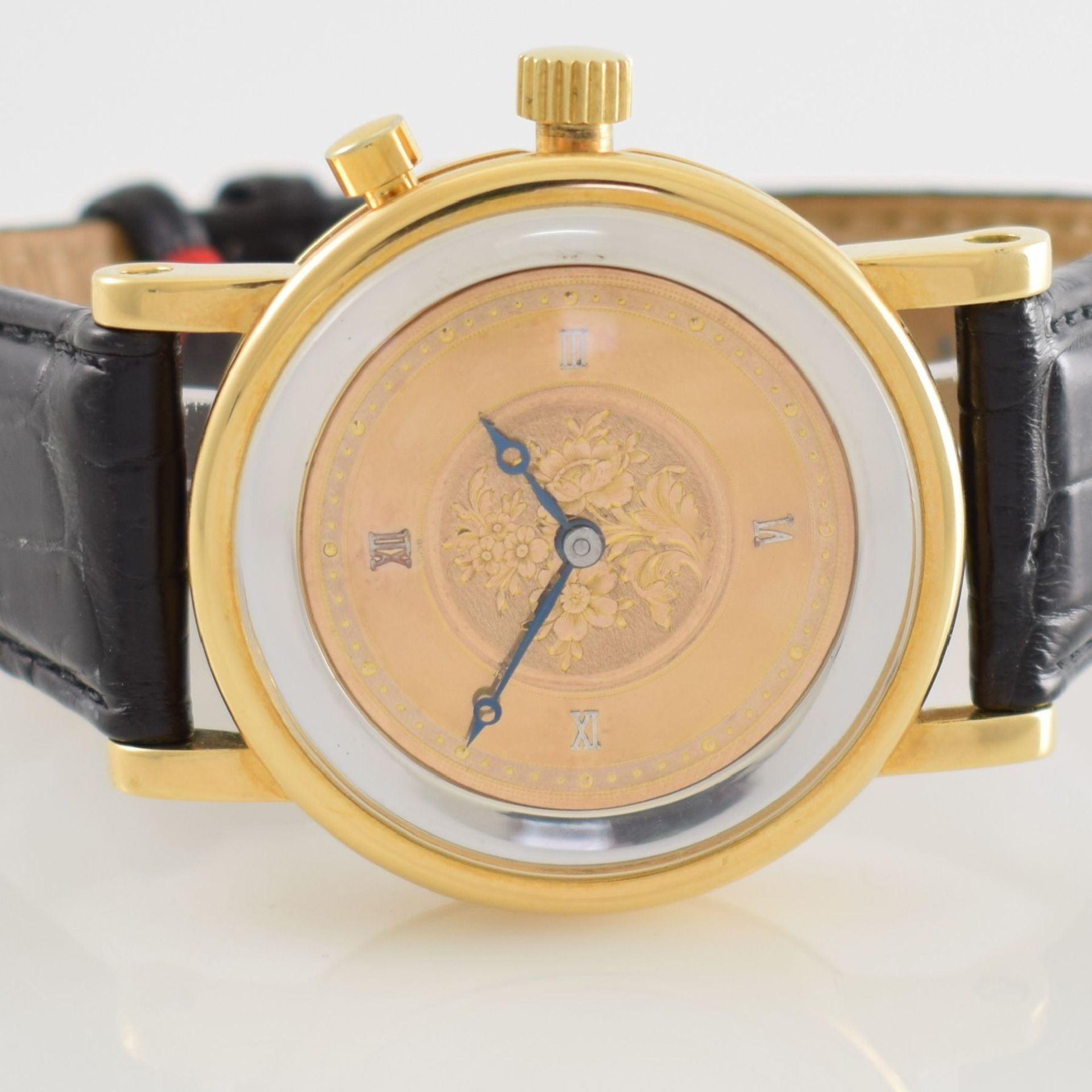 Taschenuhrwerk mit 1/4 Repetition umgebaut zur Armbanduhr in GG 750/000 Gehäuse, Handaufzug, - Bild 2 aus 9