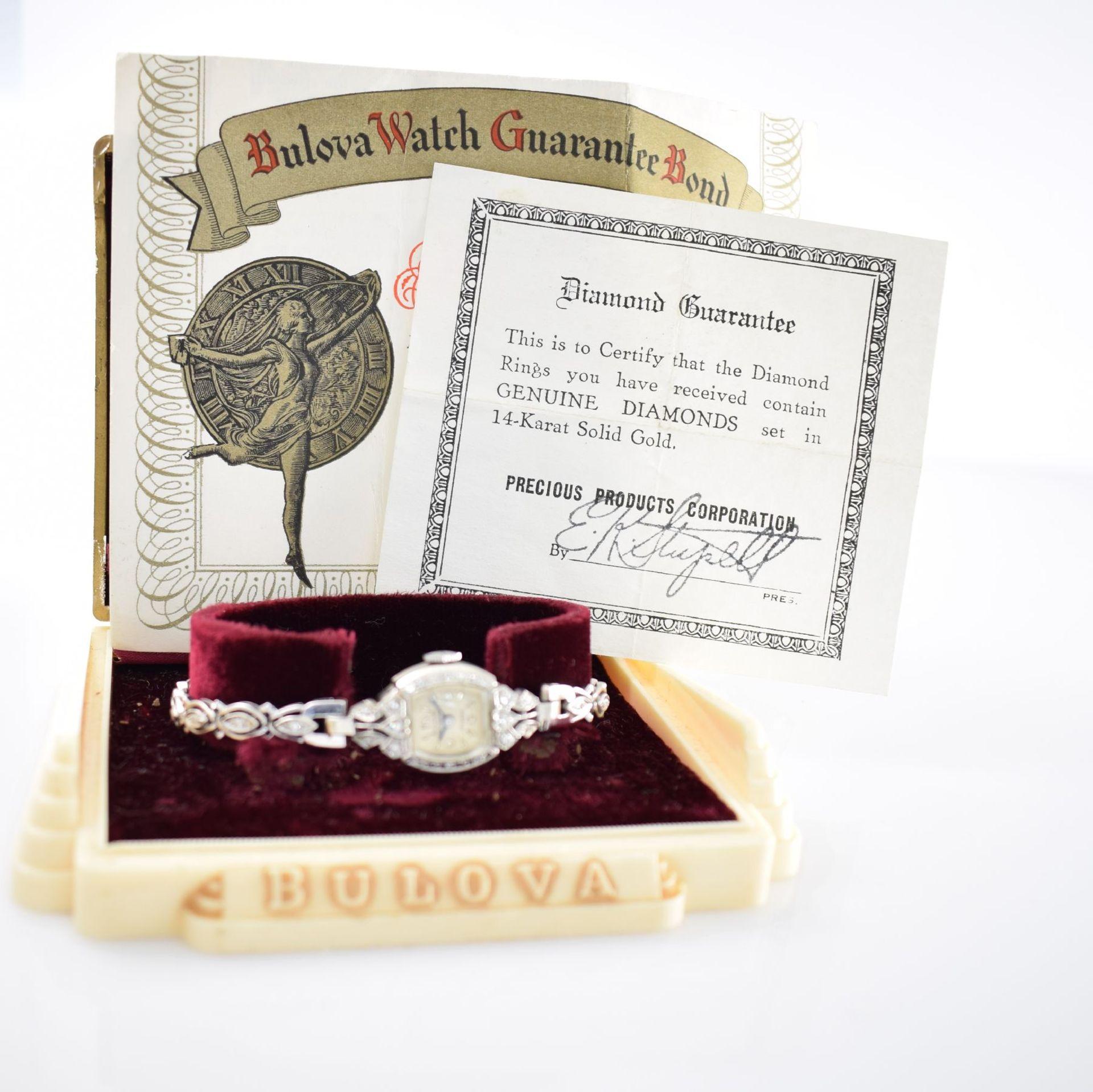 BULOVA Damenarmbanduhr in WG 585/000 mit Diamantbesatz, Handaufzug, USA um 1940, Boden aufgedr., - Bild 6 aus 6