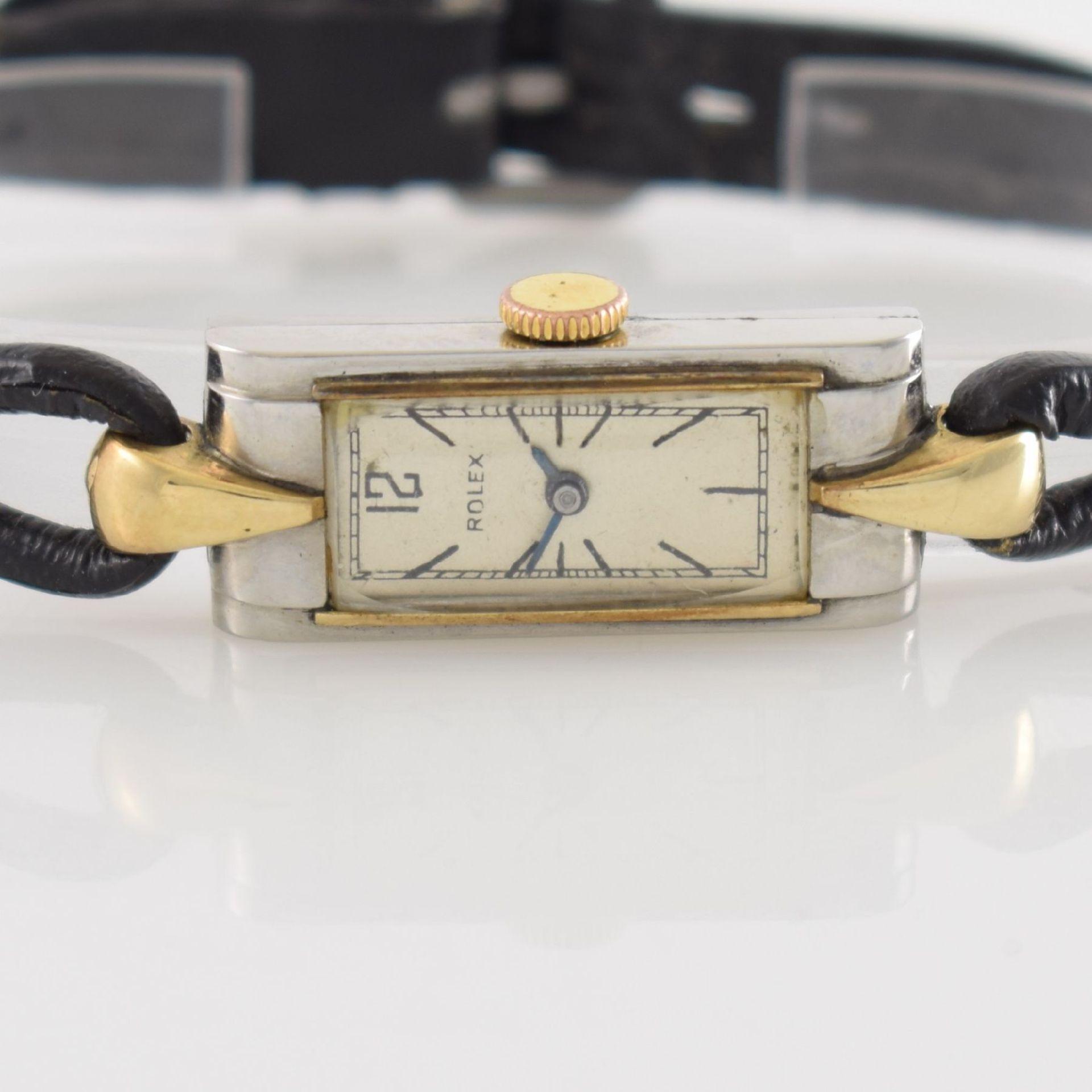 ROLEX Princess Damenarmbanduhr Ref. 1876 in Stahl/Gold, Schweiz um 1935, Handaufzug, rechteck. - Bild 2 aus 8