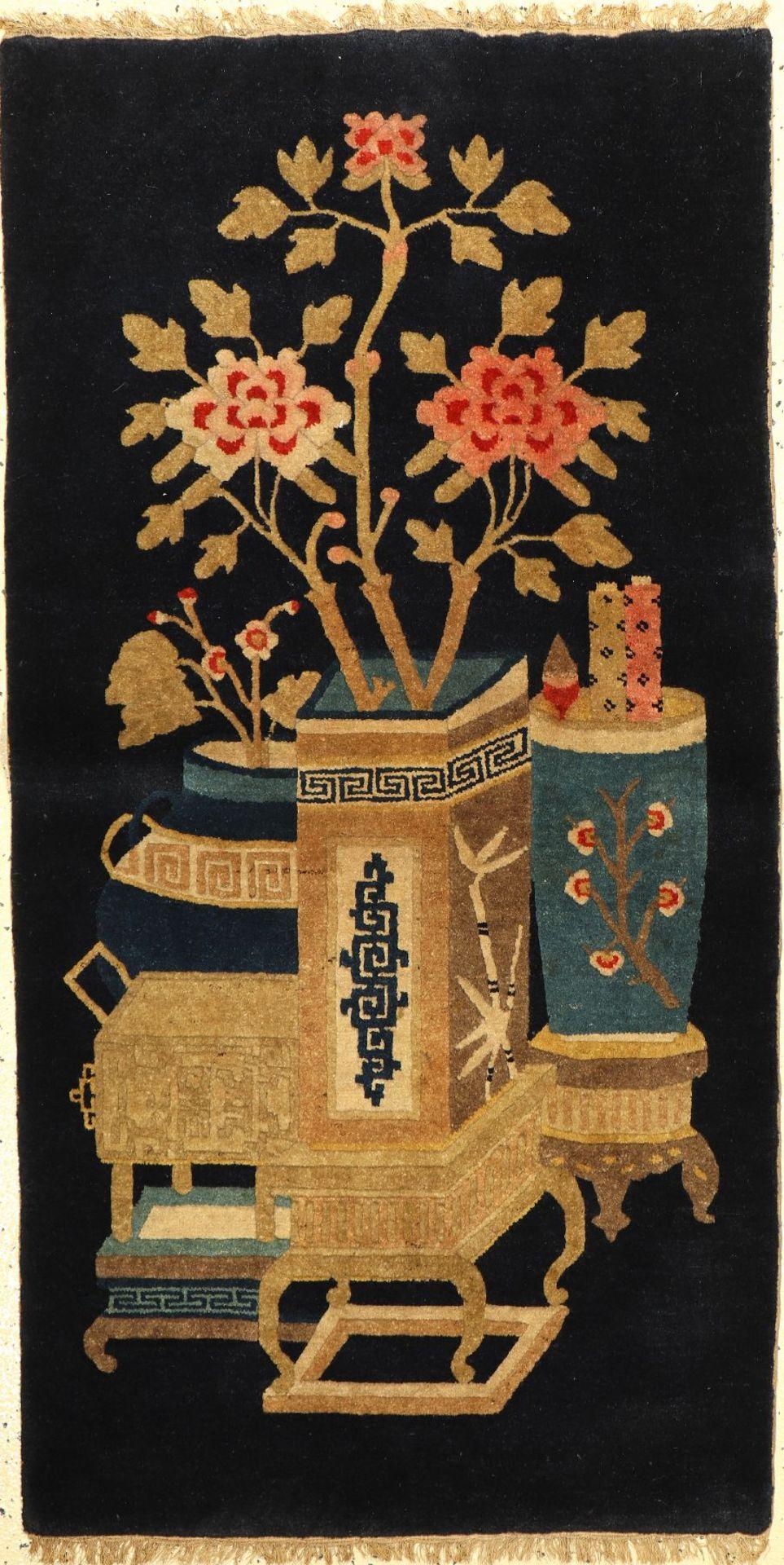 Pao Tao, China, um 1920/30, Wolle auf Baumwolle, ca. 135 x 67 cm, EHZ: 2Pao Tao Rug , China, circa