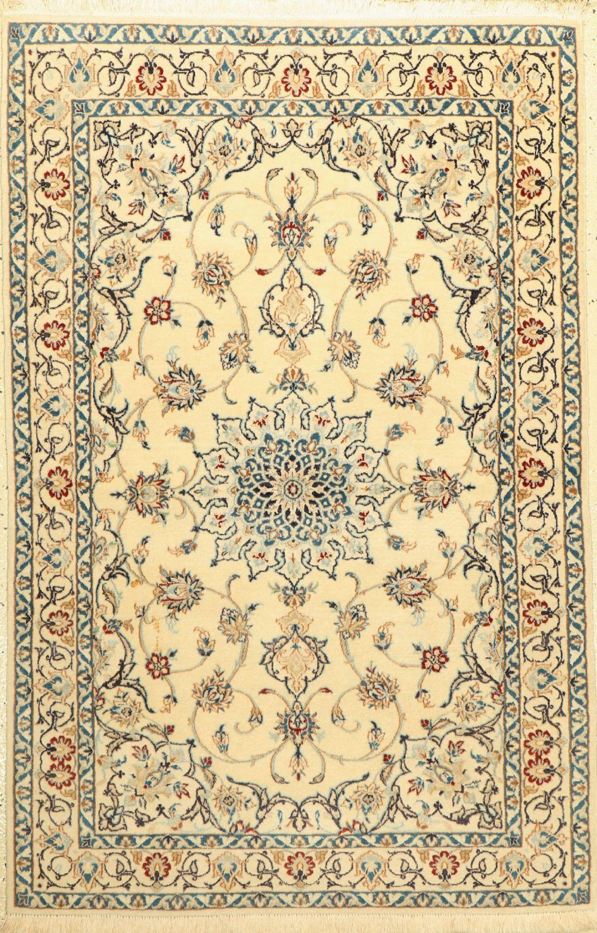 Nain fein(6 La), Persien, ca. 30 Jahre, Korkwolle mit Seide, ca. 139 x 90 cm, EHZ: 2Fine Nain (6 La)