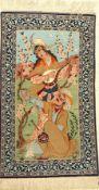Esfahan Bildteppich fein, Persien, ca. 30 Jahre, Korkwolle auf Seide, ca. 113 x 68 cm, EHZ: 2Fine