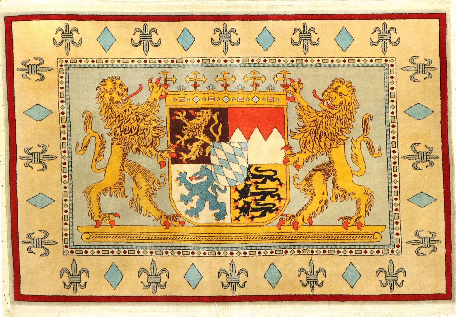 Wappen Teppich(Bayern Ludwig II ),Türkei, 50 Jahre, 126 x 83 cm,EHZ: 2Coat Of Arms Rug (Bayern