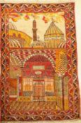 """Sivas """"Bildteppich"""" alt, (Mevlana), Türkei,um 1930, Wolle auf Wolle, ca. 216 x 144 cm, EHZ:"""
