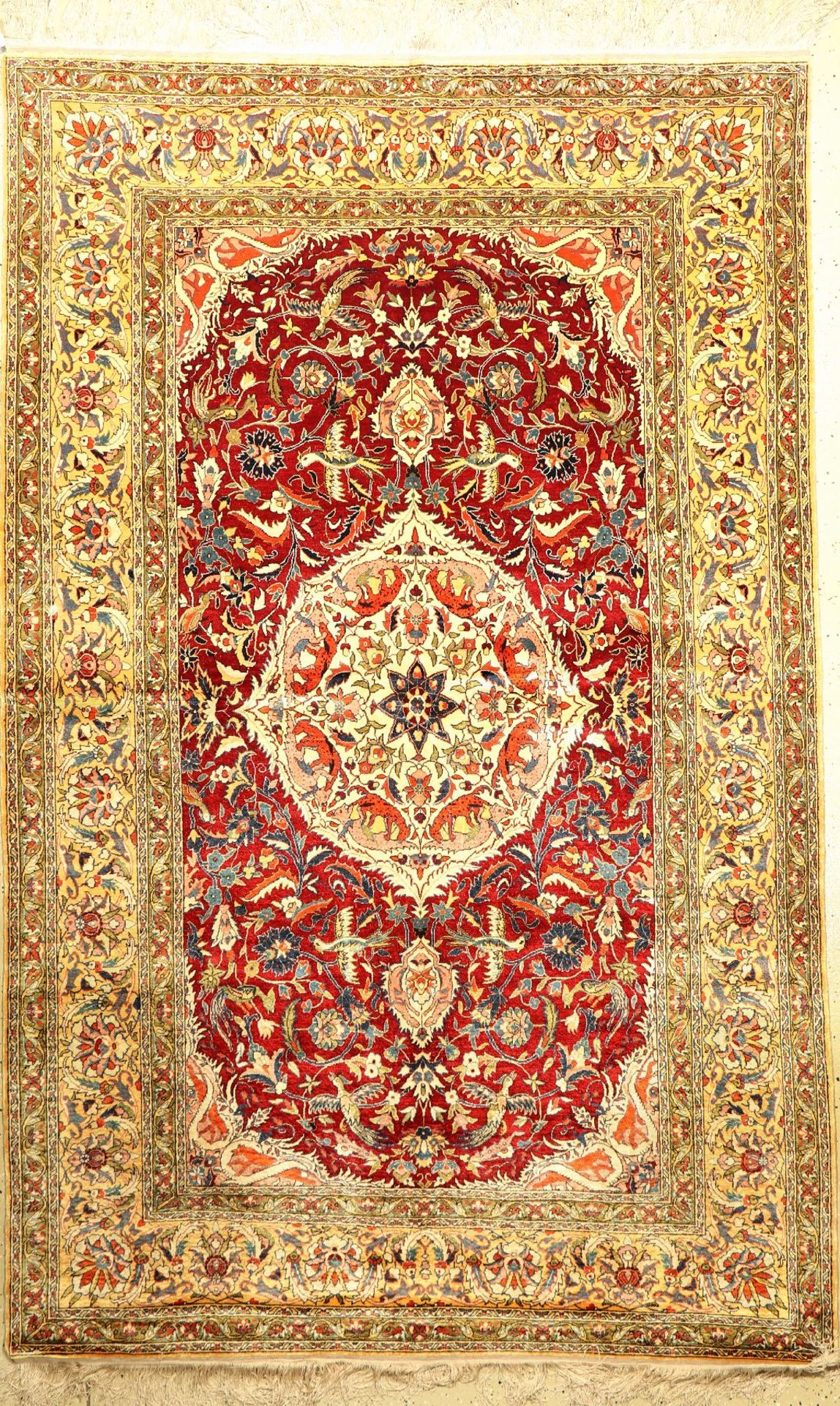 Seiden Kaisery alt, Türkei, ca. 50 Jahre, reine Naturseide, ca. 246 x 155 cm, edel und dekorativ,