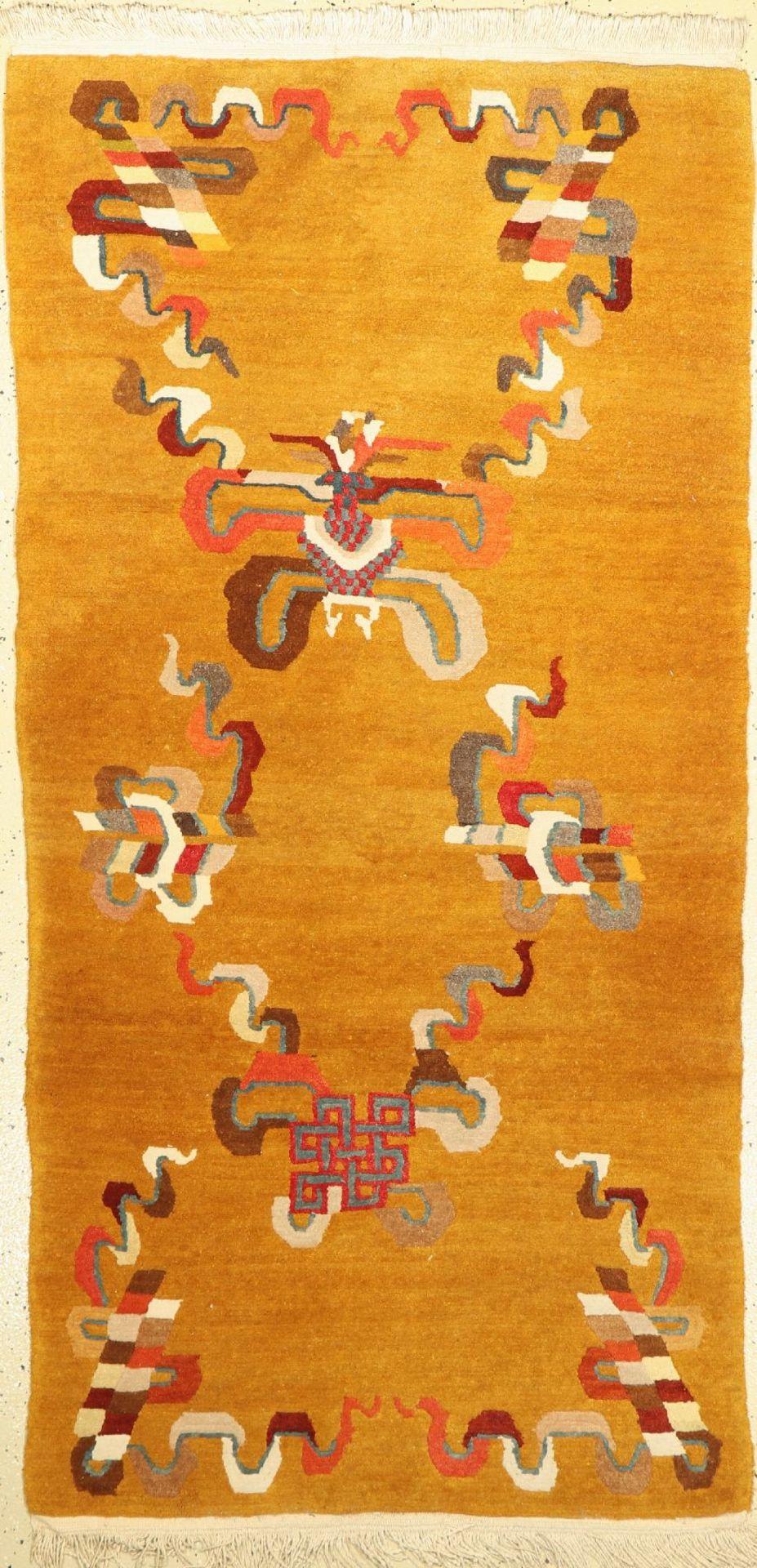 Tibet, ca. 40 Jahre, Wolle auf Baumwolle, ca. 185 x 95 cm, EHZ: 2-3Tibet Rug , Tibet, approx. 40