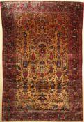 Gelber Seiden Keschan antik, Persien, 19.Jhd., reine Naturseide, ca. 200 x 132 cm, EHZ: 3, (
