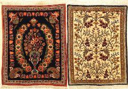 Konvolut Keschan und Ghom Seide,ca. 50 Jahre Keschan ca, 77 x 63 cm,Wolle auf Baumwolle. Ghom