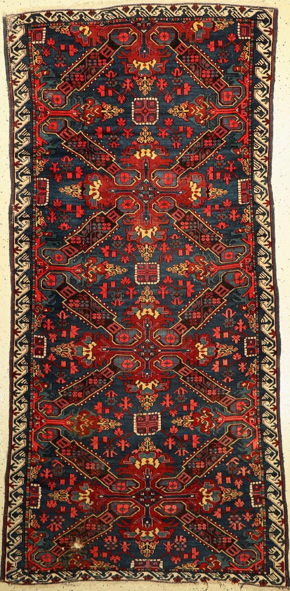 Seichur antik, Kaukasus, um 1890/1900, Wolle auf Wolle, ca. 242 x 111 cm, EHZ: 4 (einLoch)Seikur Rug