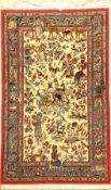 Ghom Kork fein, Persien, ca. 30 Jahre, Korkwolle mit Seide, ca. 162 x 100 cm, minimaler alter