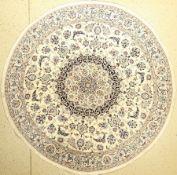 Nain, Persien, ca. 40 Jahre, Wolle auf Baumwolle, Durchmeßer: ca 200 cm, EHZ: 2Nain Rug , Persia,