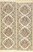 1 Par Nain fein, Persien, ca. 40 Jahre, Korkwolle mit Seide, ca. 137 x 45 cm, Reinigungsbedürftig,