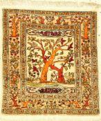 Seiden Hereke alt (Signiert), Türkei, ca. 60 Jahre, reine Naturseide, ca. 48 x 42 cm, EHZ: 2Silk