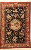 Ghom Seide Signiert, Persien, ca. 40 Jahre,reine Naturseide, ca. 150 x 98 cm, EHZ: 2-3Silk Qum