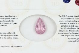 Loser rosefarb. Turmalin, facett. Tropfen, ca. 3.06 ct, mit GIL ZertifikatLoose rose coloured