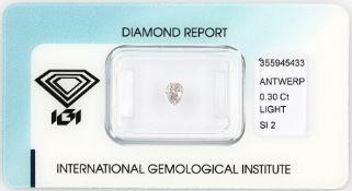 Loser Diamant, 0.30 ct Light Pink/si2, tropfenf. facett., verschweißt, mit IGI- Expertise