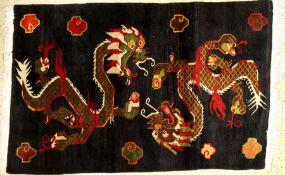 """Nepal Drachenteppich, ca. 50 Jahre, Wolle auf Baumwolle, ca. 190 x 124 cm, EHZ: 2-3Nepal """"Dragon"""
