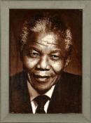 """Feiner Täbriz """"Bildteppich"""" (Nelson Mandela), Persien, ca. 10 Jahre alt, Korkwolle, ca. 56 x 42"""