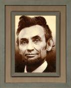 """Feiner Täbriz """"Bildteppich"""" (Abraham Lincoln), Persien, ca. 10 Jahre alt, Korkwolle, ca. 72 x 58 cm,"""