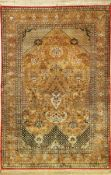 Seiden Ghom alt, Persien, ca. 50 Jahre, reine Naturseide, ca. 210 x 142 cm, Hadji-Khnaumi Design,