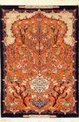 """Feiner Esfahan """"Mohsen Fatehi"""" (Signiert), Persien, ca. 30 Jahre alt, Korkwolle mit und auf Seide,"""