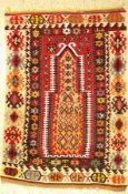 "Gebets Kelim, Anatolien, um 1940, Wolle aufWolle, ca. 168 x 116 cm, EHZ: 2-3Anatolian ""Prayer"