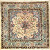 Scherkat Yasd alt, Persien, ca. 50 Jahre, Korkwolle, ca. 211 x 213 cm, seltenes Format, EHZ: 2 (