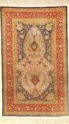 Feiner Seiden Hereke alt, (Signiert), Türkei, ca. 40 Jahre, reine Naturseide, ca. 146 x 92 cm,
