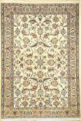 Feiner Nain (6LA) Signiert, Persien, ca. 30Jahre, Korkwolle mit Seide, ca. 142 x 96 cm,