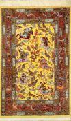 Feiner Seiden Ghom (The Hunting), Persien, ca. 10 Jahre alt, reine Naturseide, ca. 153 x 101 cm,