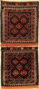 1 Paar Belutsch Taschefront, alt, Persien, um 1930, Wolle auf Wolle, ca. 74 x 64 70x60 cm, EHZ: 2-3.