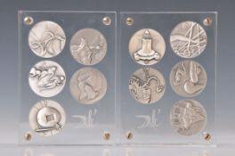 """Salvador Dali 1904-1989, 10 Silbermedaillen """"Die Zehn Gebote"""", 999.9 Feinsilber, Sonderprägung 1975,"""