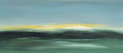 Kerstin Potthoff, zeitgenössische Künstlerin aus Ratingen, Blick aufs Meer, Öl/Lwd, rückseitig