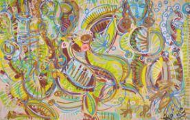 """Leon Löwentraut, geb. 1998, 12-Farben Pigmentdruck, """"Caribbean Flair"""", auf Leinwand, von Hand"""