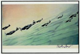 Gerhard Richter, geb. 1932 Dresden, Postkarte, sign., unter Glas gerahmt, gesamt ca. 42x32 cmGerhard