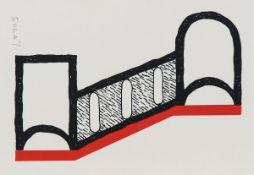 Kumi Sugai, 1919-1996, Farbsiebdruck in schwarz und rot auf Doppelkarte, handsigniert, ca. 10.
