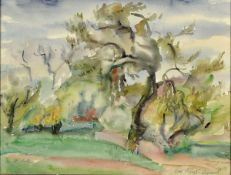 Loulou Albert-Lasard, 1885 Metz - 1969 Paris, südliche Landschaftsdarstellung, Aquarell/ Papier,