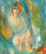 Jean-Baptiste Valadie, geb. 1933, sitzender weiblicher Akt mit Taube, Öl/Lwd, links unten