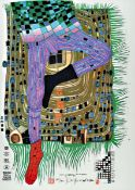 Friedensreich Hundertwasser, 1928-2000, In Gamba, Farbserigraphie, handsigniert und num. 382/905,