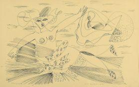 """Rudi Baerwind, 1910 Mannheim - 1982, Federzeichnung auf Papier, """"die Morgenröte"""", spürbarer"""