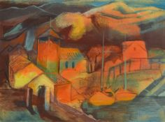 Willi Brunkow, 1904-1983, Blick auf ein Dorf im Abendrot, Gouache/Malkarton, rechts unten