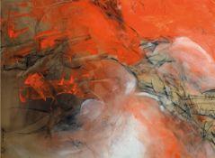 Kui, geb. 1946, Abstrakte Farbkomposition, Acryl/ Papier, sign., dat. 86, unter Glas gerahmt, gesamt
